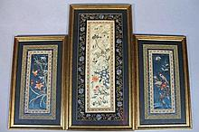 A pair of Chinese silk and embroidered panels, th