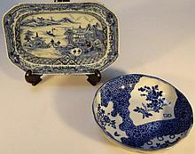 A Chinese export blue and white dish, decorated w