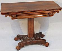 A William IV rosewood fold over card table, the c