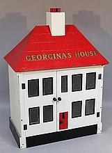 A wooden dolls house, titled Georgia's House with