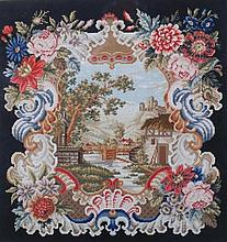 Two almost matching needlework pictures, formed a