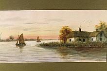 J Russell (19thC School). Boats drying sails asid
