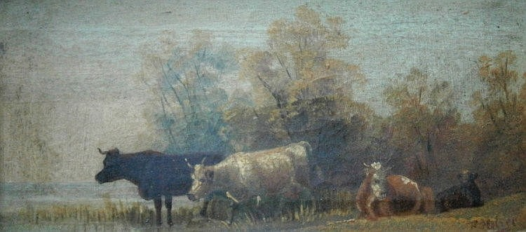 F Holzer (19th/20thC). Cattle in landscape, oil on