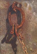 M Bercels. Shackle, oil on canvas, signed, 26cm x