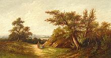 Joseph Thors (act.1863-1900). Landscape with figur