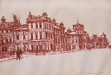 Peter Brannan (1926-1994). Street scene, pen drawi