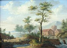 19thC Dutch School. Landscape with waterfall and f