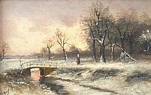 Louis Apol (1850-1936). Winter scene with figures,