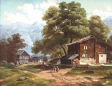 19thC German School. Alpine village with figures,
