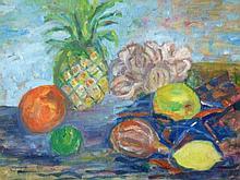 Margaret L Medcalf (20thC). Still life with fruit,