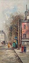 Franchini (20thC). Continental street scene, oil o