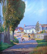 Donald H Floyd (1892-1965). Village lane with figu