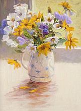 Iris Collett (b.1938). Floral still life, oil on b