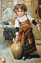 Manner of Ricardo De Madrazo. Young child with sto