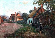 Frederick S Merriman. Village scene with cottage,