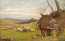 William Lewis (19thC). Rural landscape with farmer