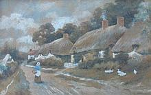 19thC British School. Rural scene with thatched co