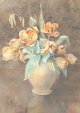 Annie Sharpe (19thC). Still life of flowers in a v