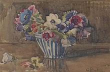 G Priestman (19th/20thC). Floral still life, water