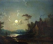 Sebastian Pether (1790-1844). Moonlit Lakes with f