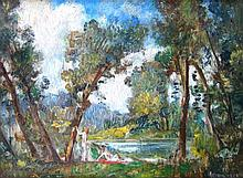 Herrmann (19th/20thC). Bathers in the woods, oil o