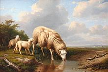 Manner of Thomas Sidney Cooper. Ewe and Lambs, oil