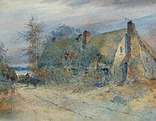 G.J. Knox. Thatched cottage with figures, watercol
