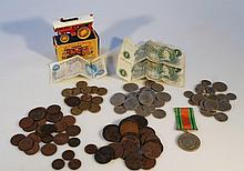 Various pre decimal and other coins, Isle of Man bank notes, single WWII medal, boxed Matchbox Y-9 s
