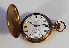 A gold plated hunter pocket watch, by Thomas Russell & Son of circular form the 4.5cm dial with Roma