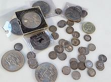 Various silver coins, to include 3d bits, various other coins some cased, etc. (a quantity)