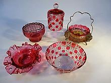 Various ruby and flash glass, to include preserve pot with plated stand, 20cm high, flower basket wi