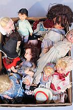 A quantity of early 20thC and later dolls, to include mainly celluloid examples in original dress, a