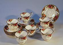 A Royal Albert Old Country Roses part tea service, comprising six plates, six cups and six saucers,