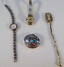 Various trinkets, an 18thC patch box, of oval form, the hinged lid with a turquoise knop, 4cm wide,