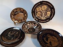 Various S and other Grecian earthenware, to include a bowl finished in 24k gold decorated with figur