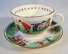 A Royal Worcester VIP golfing cup and saucer, with a gilt outline, transfer printed and polychrome d