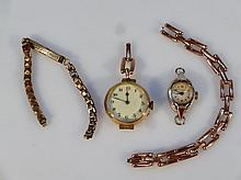 An Edwardian ladies wristwatch, the circular 2.5cm dia. dial with Arabic numerals, revealing a plain