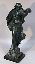 An Art Nouveau design plaster figure, of a lady wearing flowing robes on a naturalistic base, termin