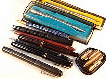 Various fountain pens, to include Parker Victory in black with gilt trim, Stephens black textured ty
