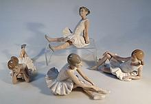 A Nao figure, of a ballerina, in recumbent pose, in brown and white, printed marks beneath, 21cm wid