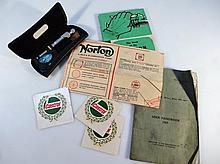 Various bygone Norton ephemera, to include The Book Of The Norton, lubrication chart, Motorcycle Use