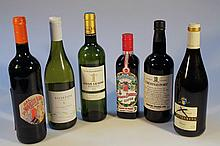 Various red wine and alcohol, to include Crusted Port, 29cm high, Bordeaux white wine, etc. (6)
