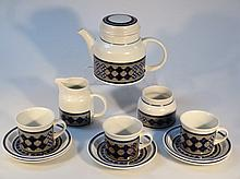 A Royal Doulton Tangier part tea service, comprising teapot, 17cm high, milk jug, sugar bowl, three