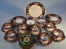 An early 20thC Royal Albert Heirloom pattern part tea service, comprising serving plate, 28cm wide,