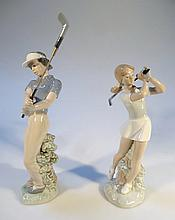 A Nao figure, of a golfer in blue, fawn and green, 27cm high, printed marks beneath, and another of