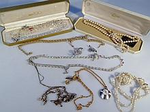 Various costume jewellery, to include necklaces, brooches, Sekonda pendant watch, 3cm high, faux pea