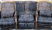 A harlequin suite of French style furniture, comprising a pair of mahogany framed lounge chairs, eac