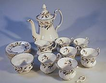 A Royal Albert Brigadoon part coffee service, comprising coffee pot, 26cm high, sugar bowl, milk jug