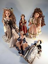 Various dolls, to include by Elelt in eastern dress, 41cm high, another boxed example, etc. (5)