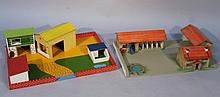 A child's farm layout, to include buildings, yard, etc, in two sections, of 20thC construction, 64cm